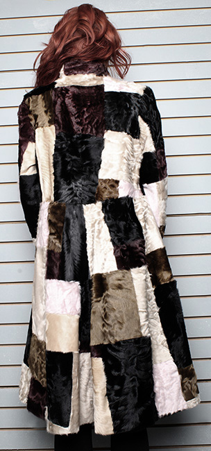 Multi Colored Old School Swakara Fur Coat
