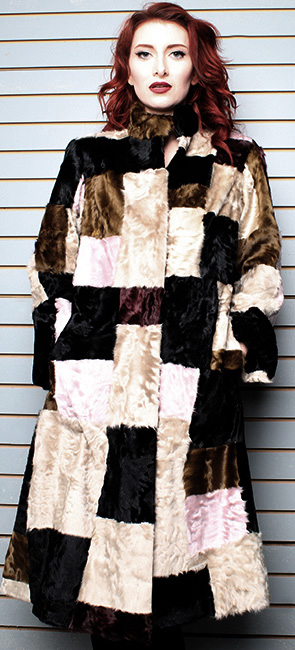 Multi Colored Old School Swakara Fur Coat F