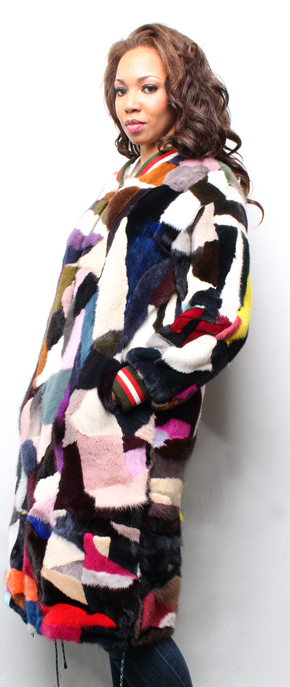 Multi Colored Reversible Sheared Mink Coat with Poplin Fabric