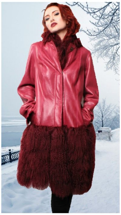 red leather jacket tibetan lamb fur border