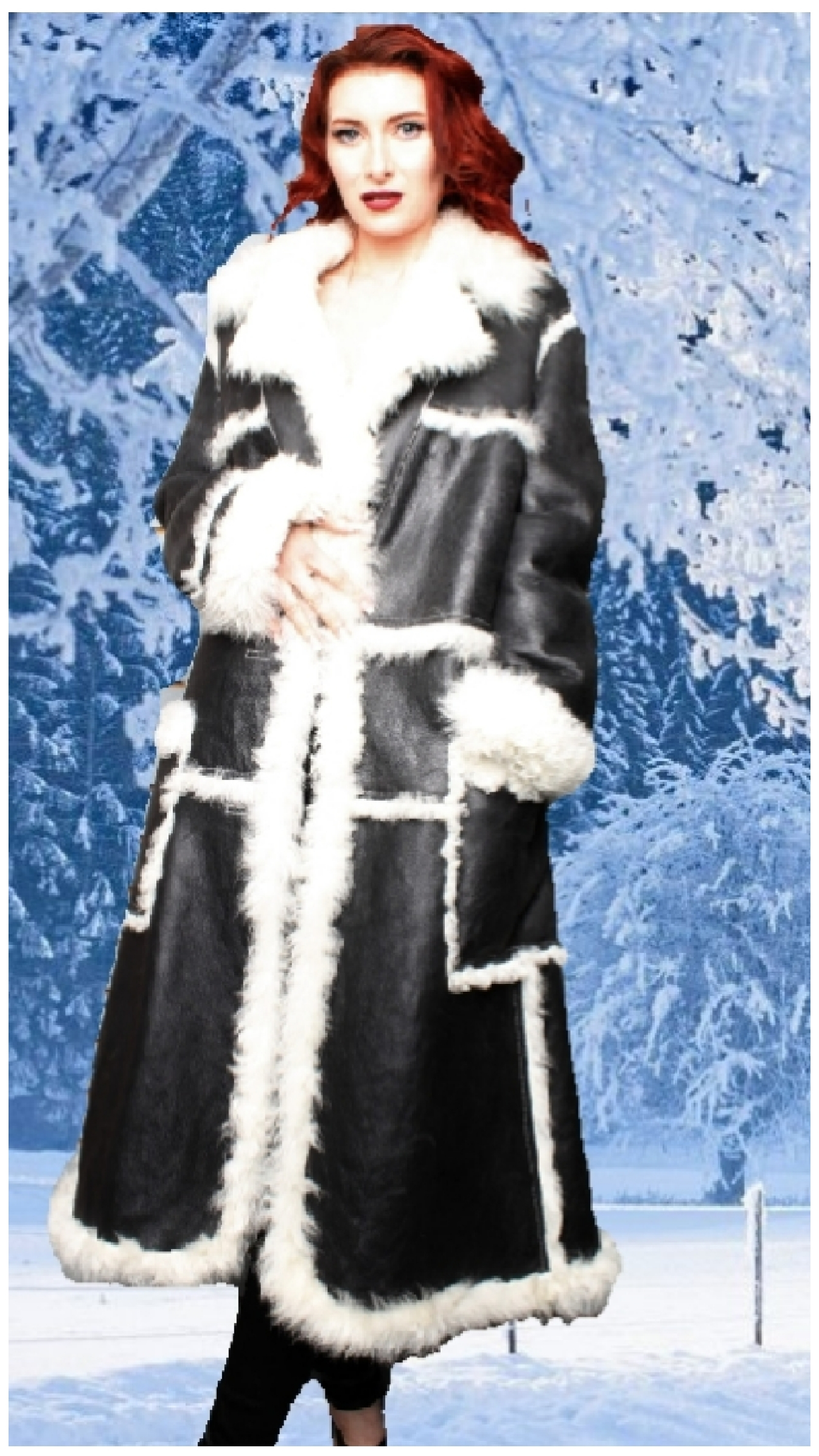 black and white shearling coat