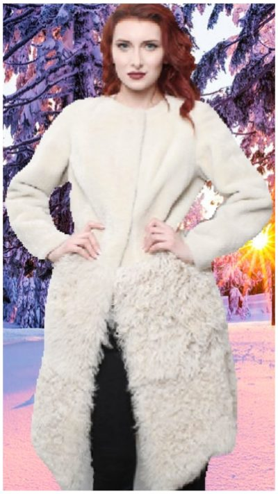 beige collarless mouton shearling coat