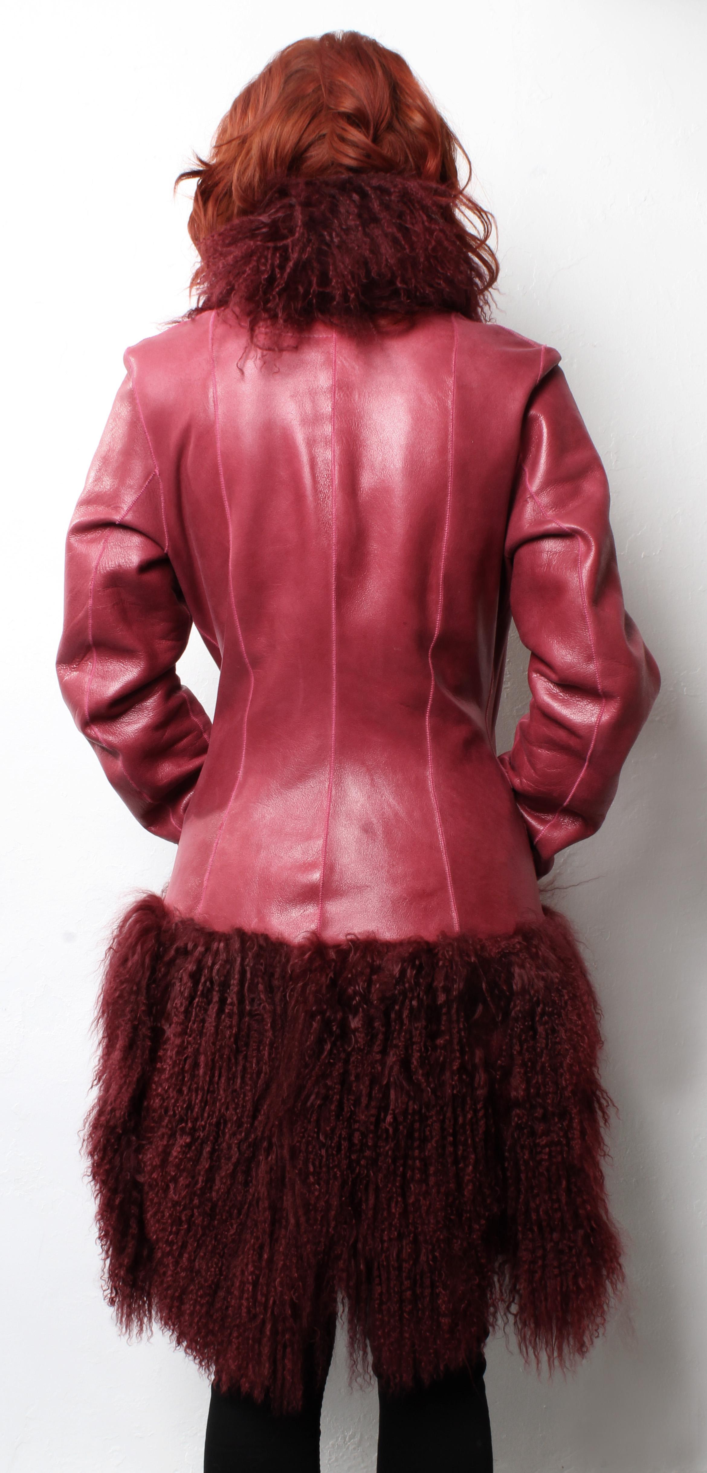 Red Leather Jacket Tibetan Lamb Fur Border