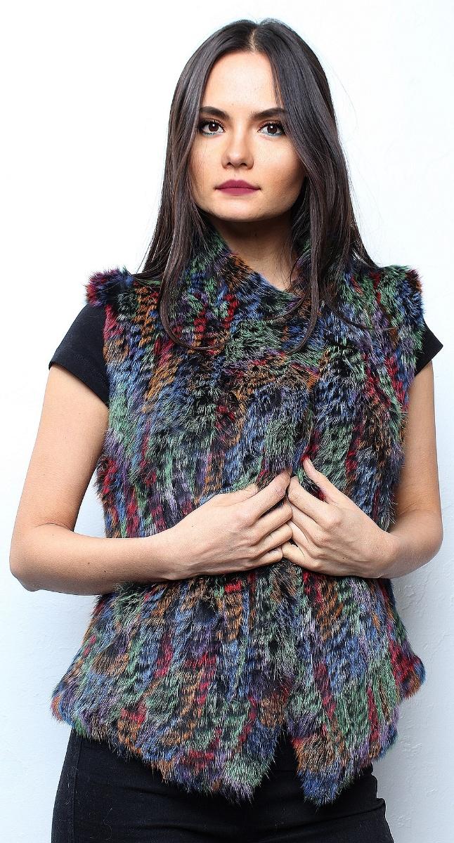 Multi Colored Knit Rabbit Fur Vest