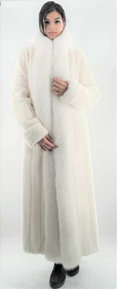 White Mink Fur Coat with White Fox Fur Tuxedo Trim