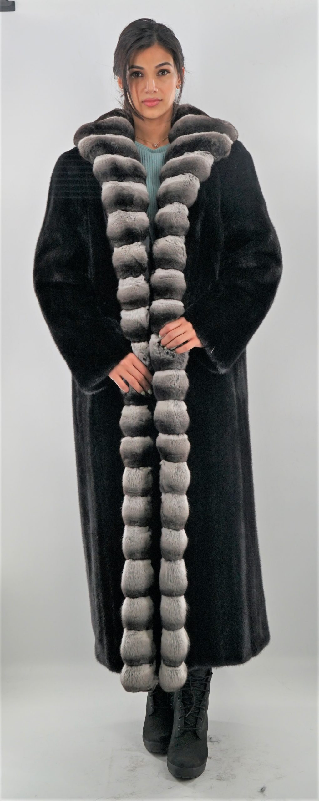 Full Length Ranch Mink Coat with Chinchilla Fur Tuxedo Trim Chinchilla Collar Cuffs