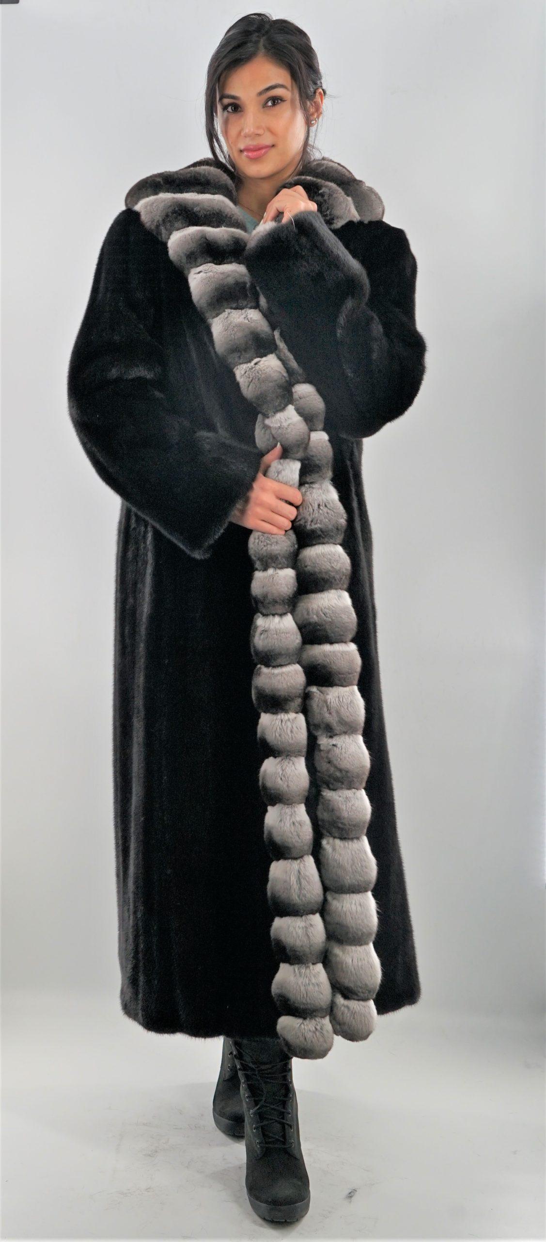 Full Length Ranch Mink Coat with Chinchilla Fur Tuxedo Trim Chinchilla Collar Cuffs