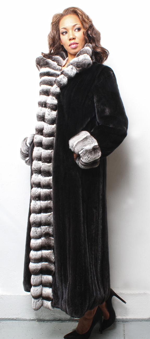 Full Length Ranch Sheared Mink Coat with Chinchilla Fur Tuxedo Trim CHinchilla Fur Collar and Chinchilla Fur Cuffs