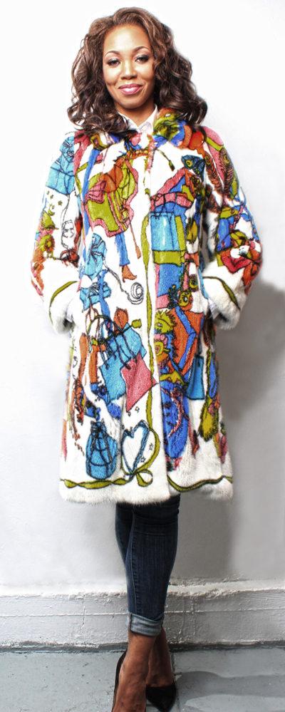 Abstract Printed Mink Fur Coat