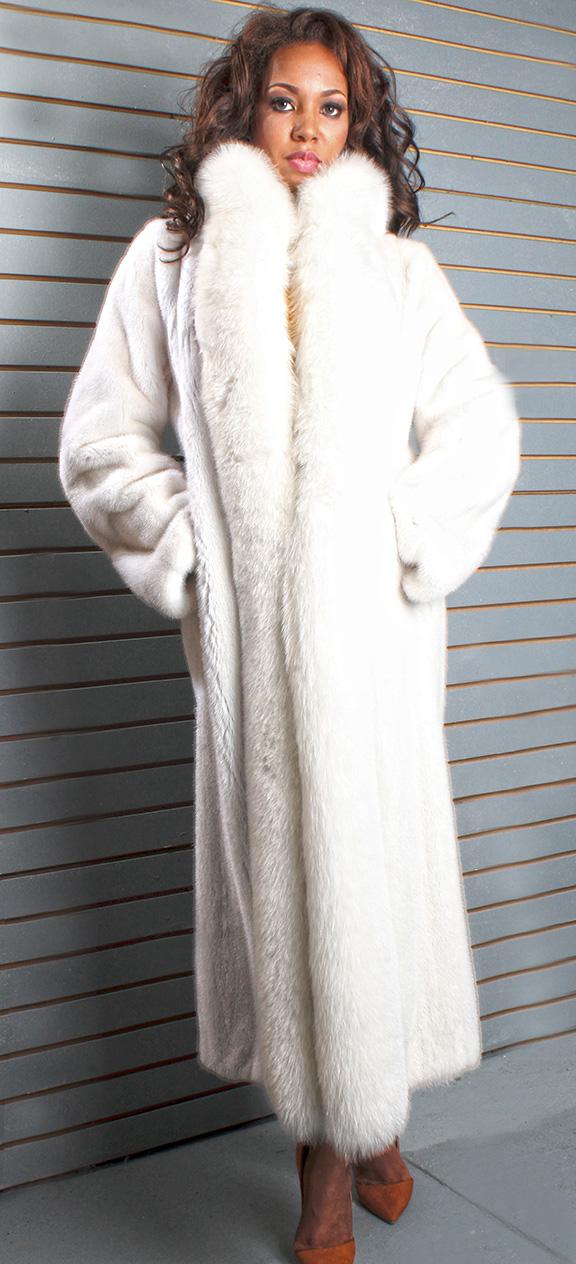 White Mink Fur Coat with White Fox Fur Tuxedo Trim