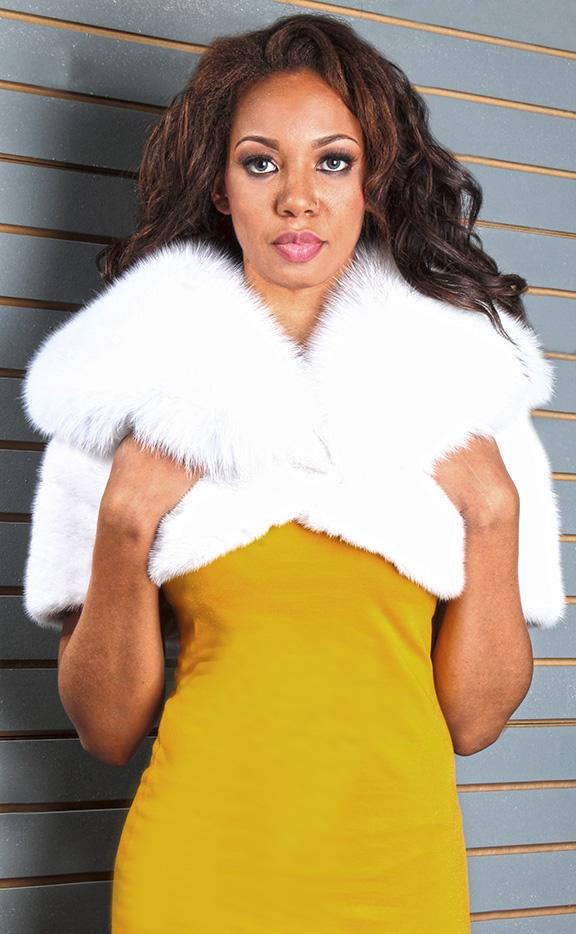 White Mink Fur Cape with White Fox Fur Collar