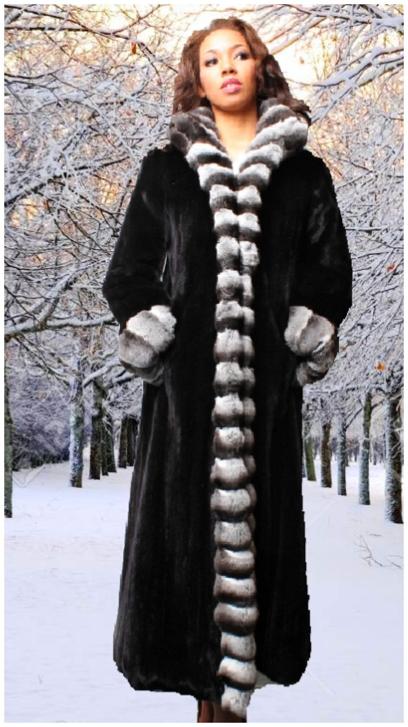 mink fur coat with chinchilla trim