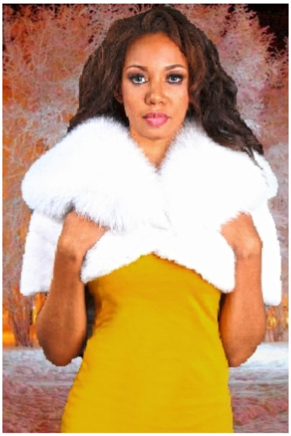 white mink cape white fox fur collar