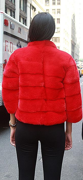 Red mink fur jacket