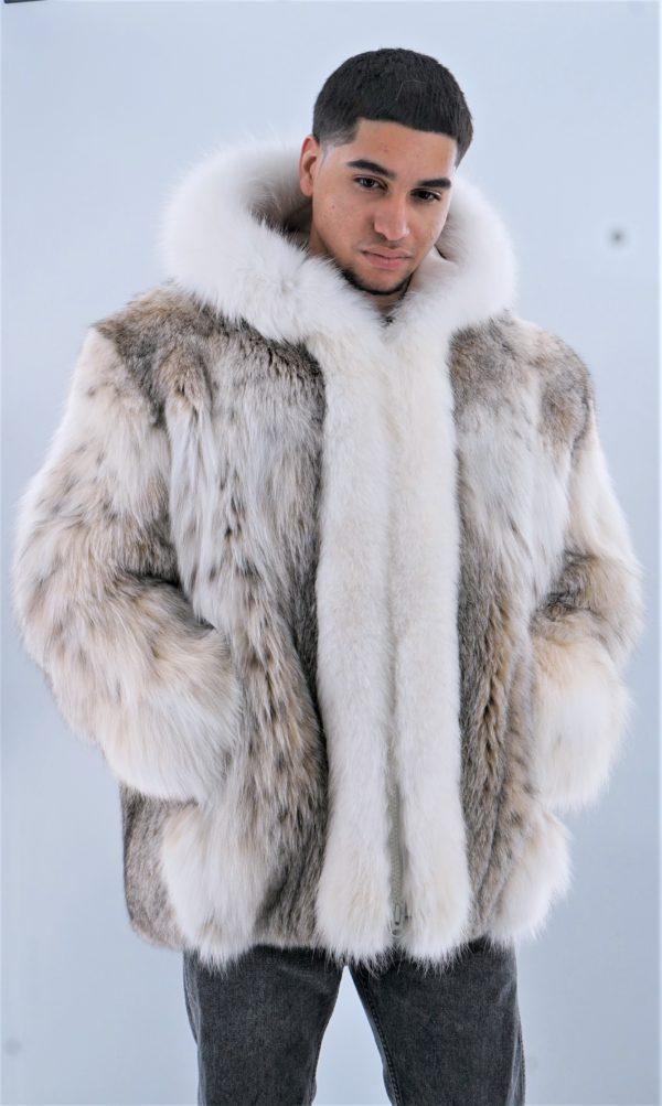 Mens Lynx Jacket with Hood White Fox Fur Trim