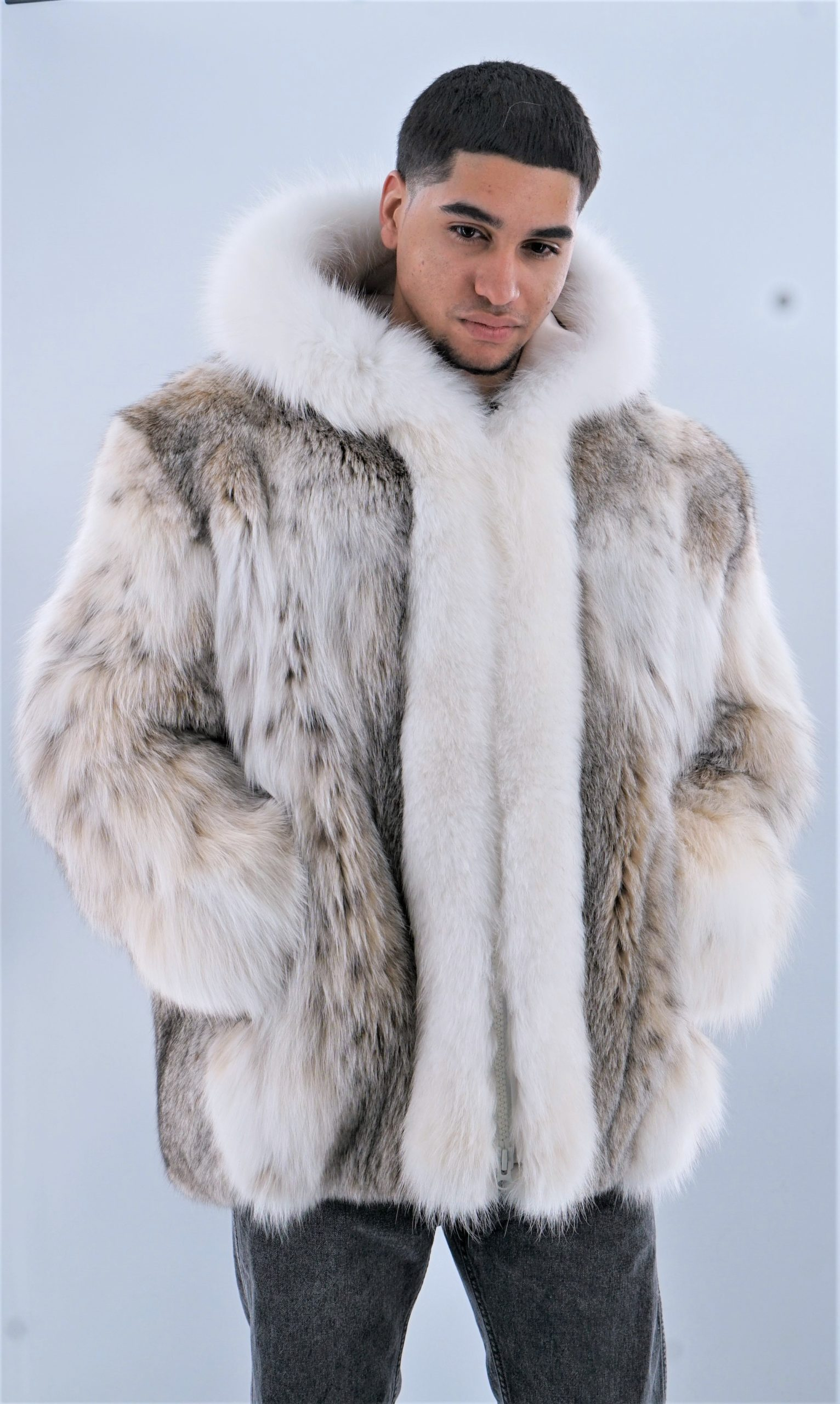 Mens Lynx Jacket with Hood White Fox Fur Trim
