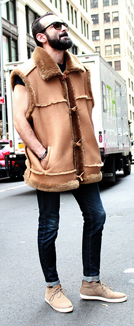 CASUAL Stylish CLASSIC MEN'S TAN SHEARLING FUR VEST