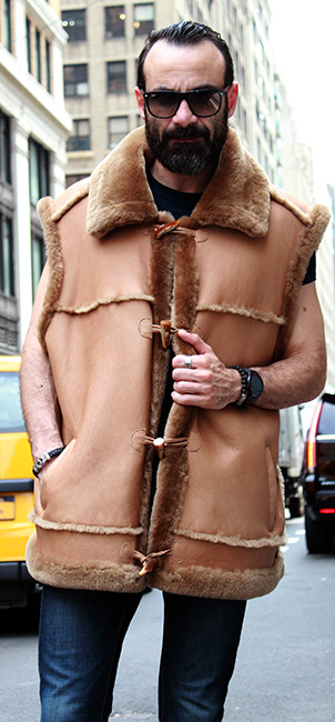 MENS TAN SHEARLING FUR VEST