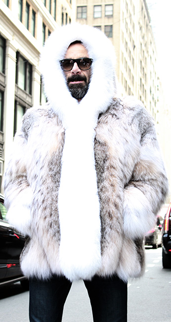 Mens Lynx Fur Bomber Jacket with Hood White Fox Fur Trim
