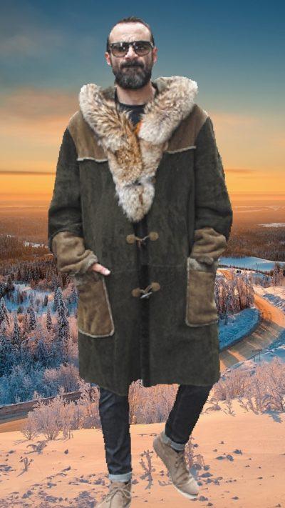 mens shearling coat hood