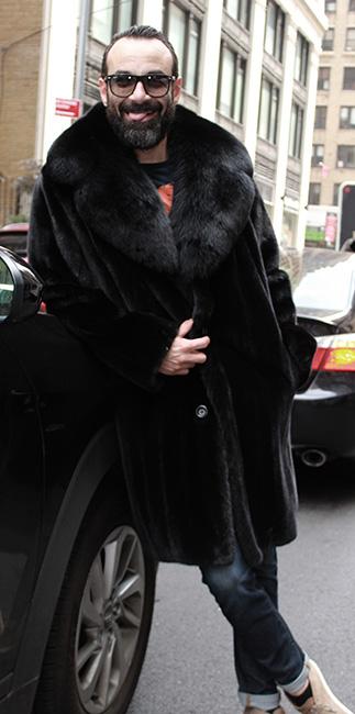 BLACKGLAMA MEN'S MINK STROLLER BLACK FOX COLLAR