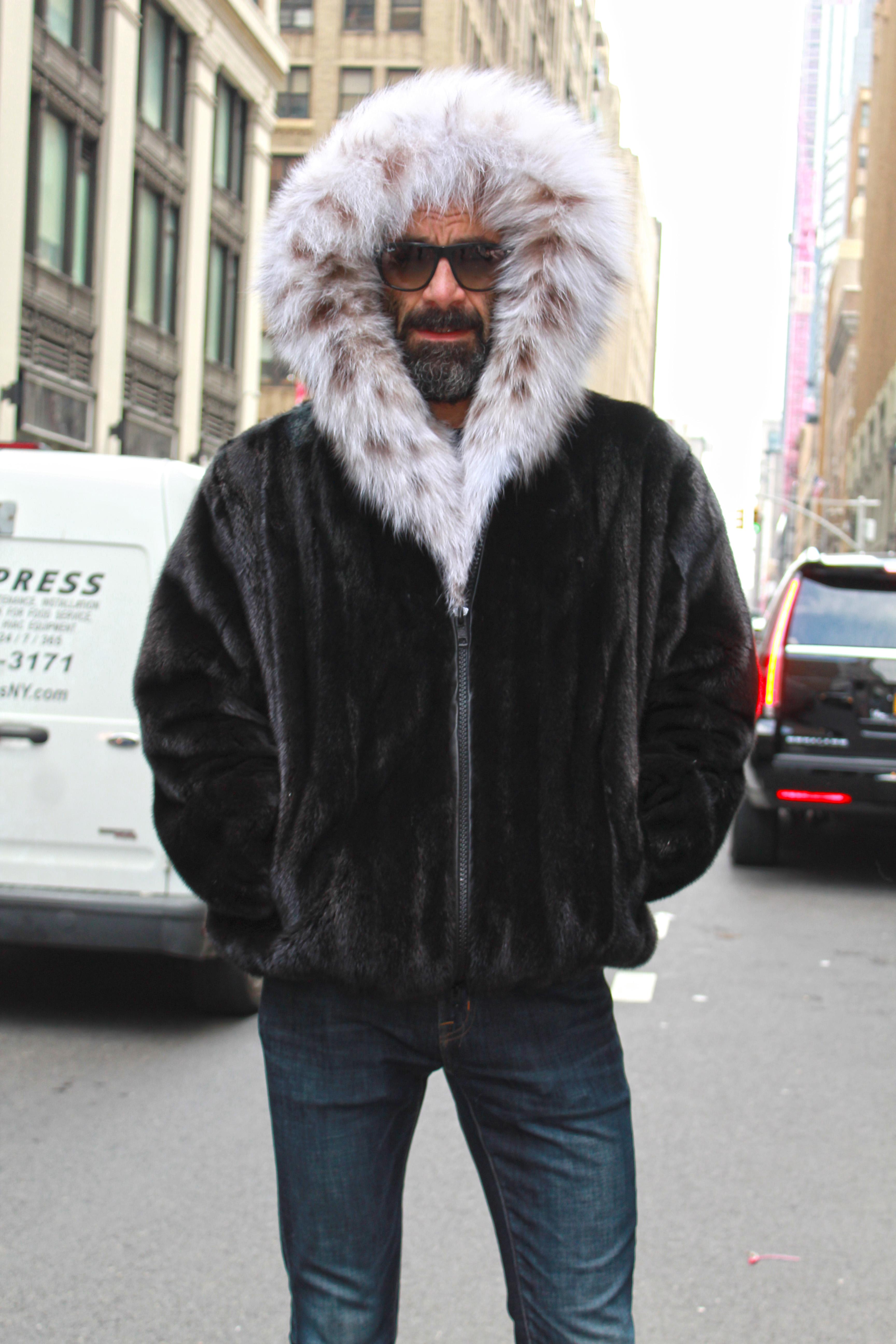 Mens Ranch Mink Fur Bomber Jacket Hood Lynx Fur Trim