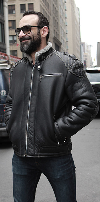CLASSIC BLACK MENS SHEARLING MOTORCYCLE JACKET