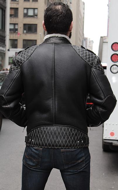 MEN'S BLACK SHEARLING MOTORCYCLE JACKET