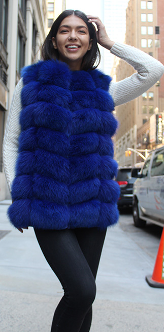 BRIGHT BLUE FOX HOODED FUR VEST