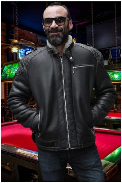 mens black shearling motorcycle jacket