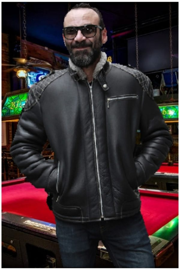 mens black shearling motorcycle jacket