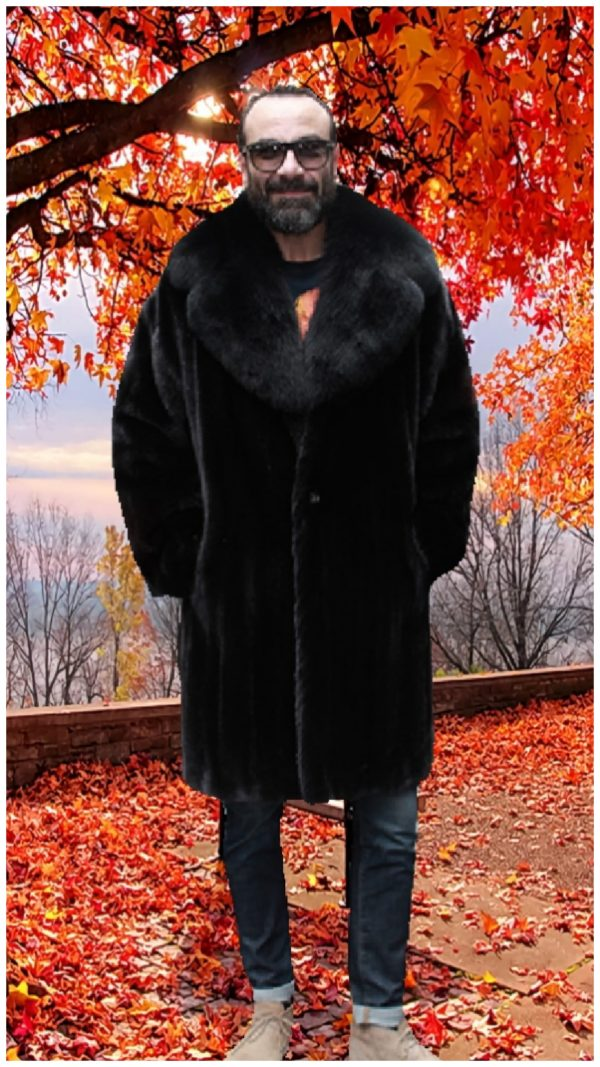 mens blackglama mink coat fox collar