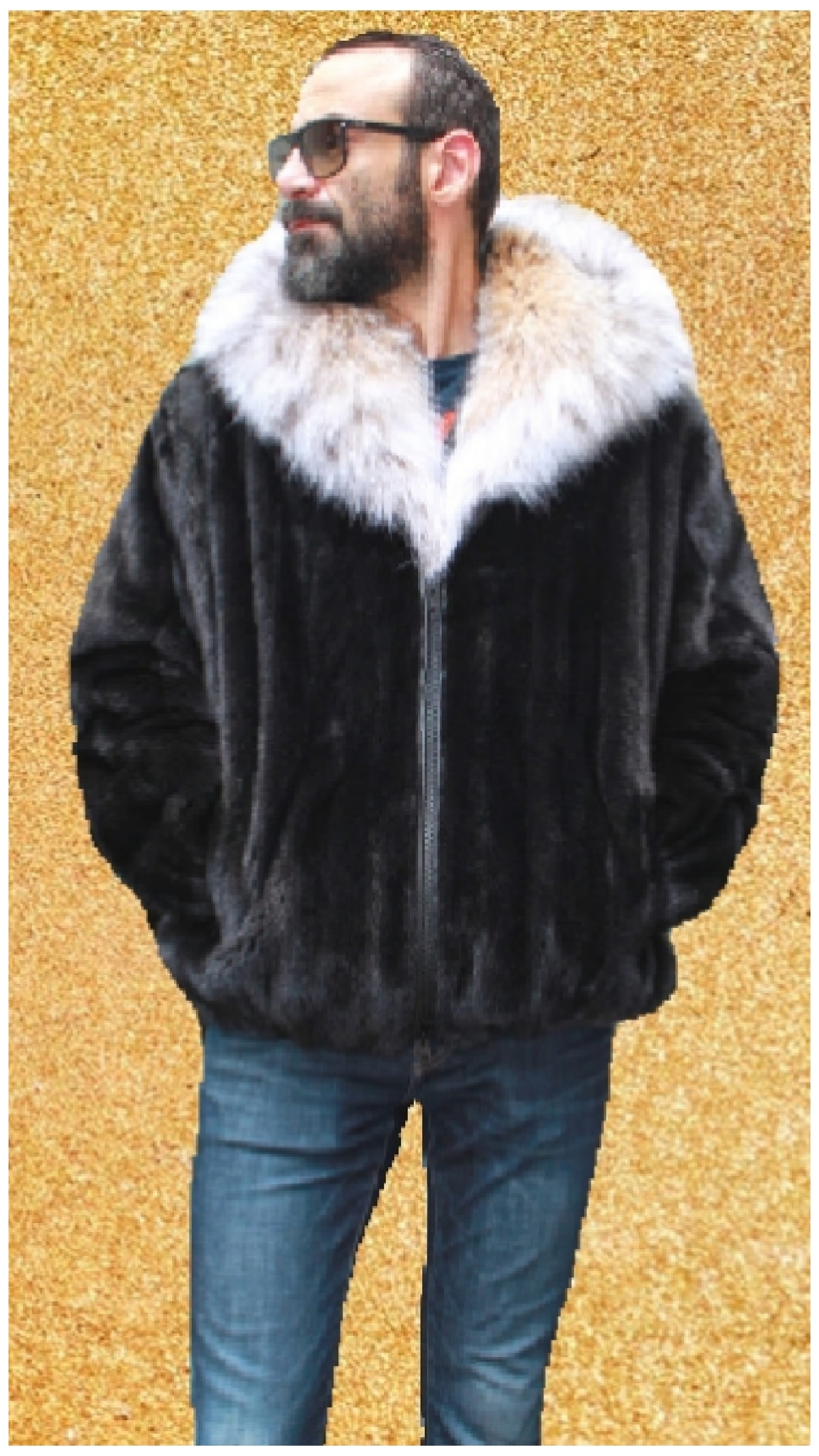 mens fox fur jacket