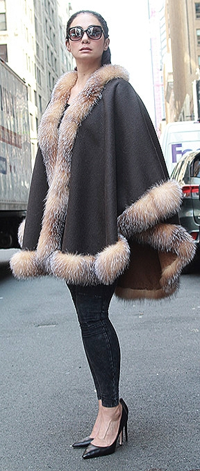 woman plus size fur poncho