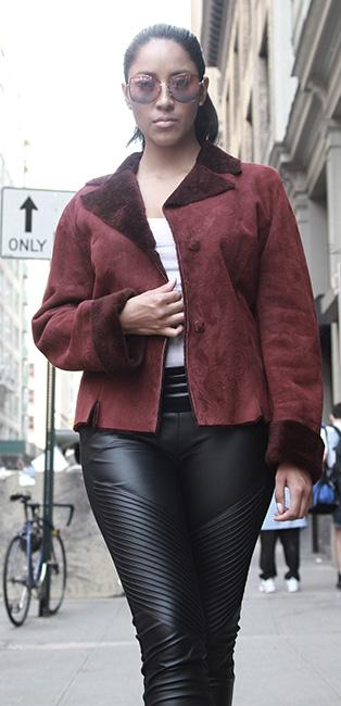 Used Burghandy Shearling Jacket