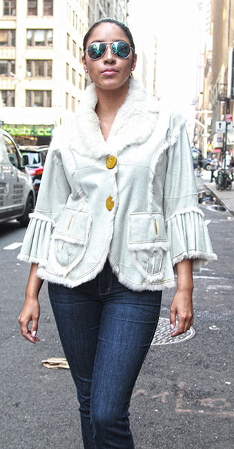 Used Ivory Shearling Jacket