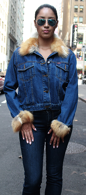 Denim Jeans Jacket Red Fox Collar