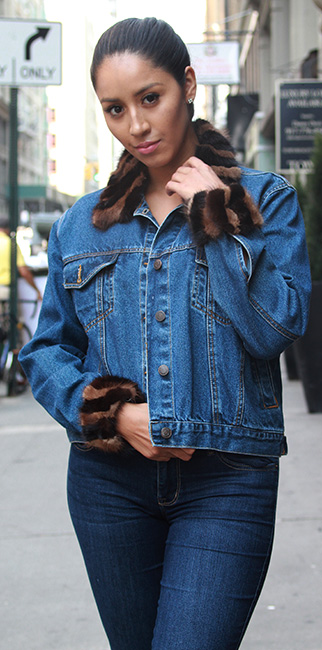 Used Denim Jacket Mink Collar Cuffs 6-8