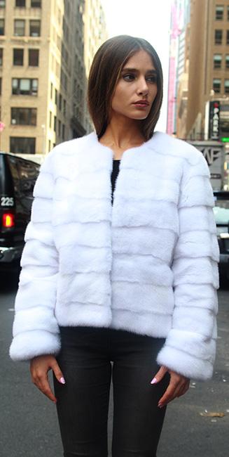 White Mink Horizontal Jacket