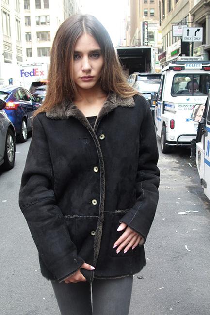 Used Black Fur Shearling Jacket