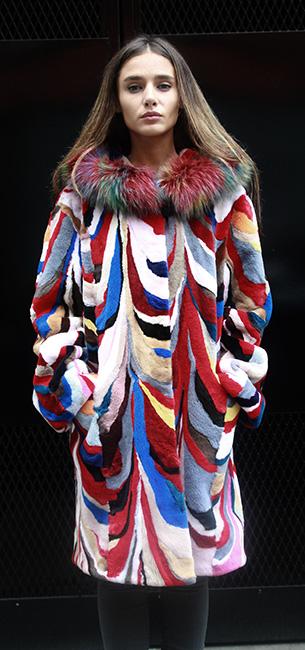 Fox trim Designer Multi Color Mink Stroller Hood
