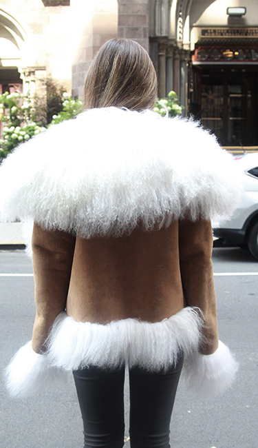Tan Shearling Jacket White Mongolian Lamb Trim