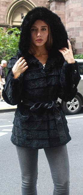 Black Sheared Rabbit jacket