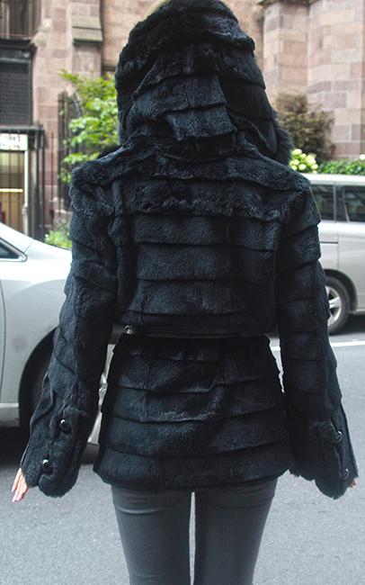 Used Black Sheared Rabbit jacket