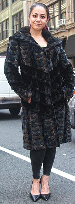 Slate Blue Hints of Tan Sheared Mink Stroller
