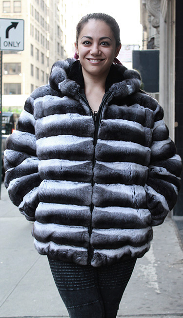 Plus Size Chinchilla Jacket Hood