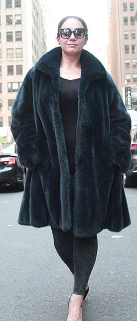 Designer Navy Blue Mink Fur Jacket