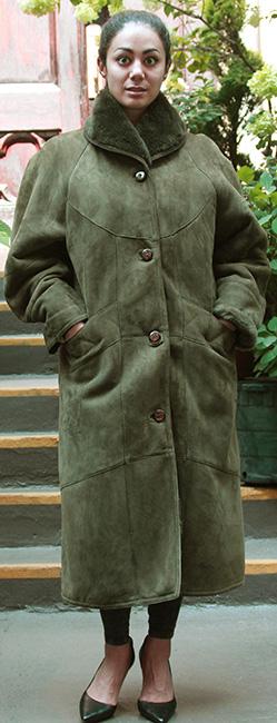 Used Green Shearling Coat