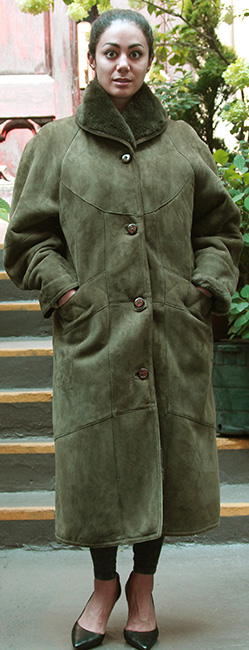 Used Green Shearling Coat