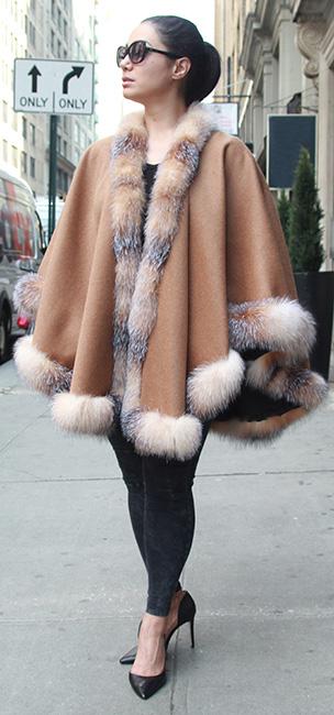 Designer Plus Size Camel Cashmere Cape Crystal Fox Trim